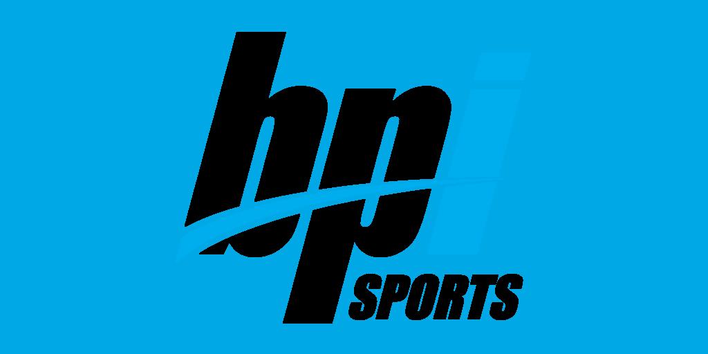 BPI Sports logo italic font black with blue i