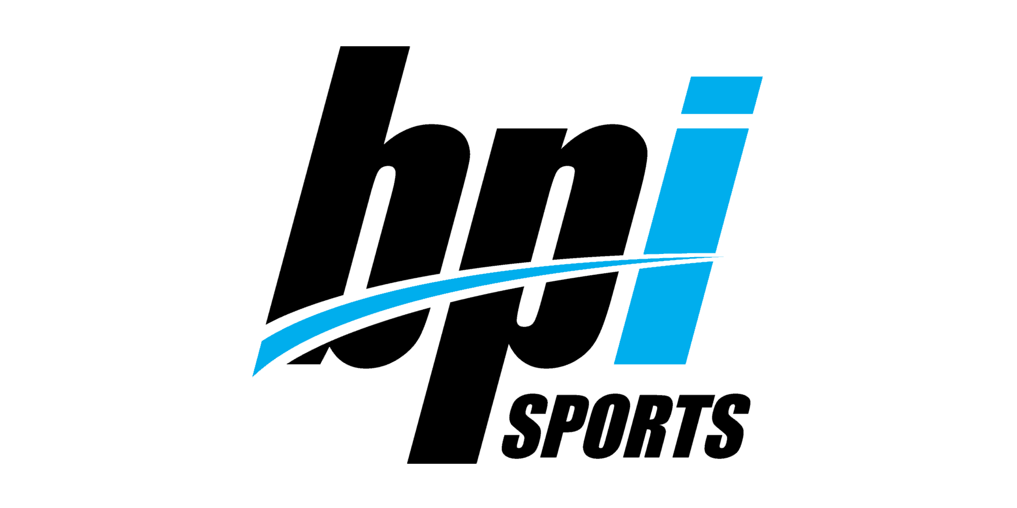BPI Sports logo italic font black with blue i