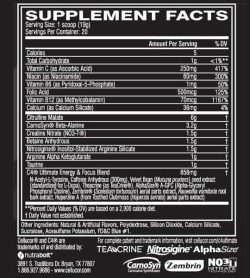 Supplement facts panel of Cellucor C4 Ultimate Pre-workout for serving size of 1 scoop (19 g) with 20 servings per container