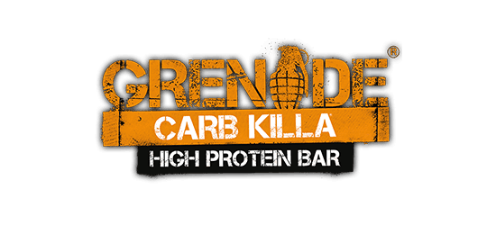 Grenade Carb Killa High P)rotein Bar logo grungy army style font orange with grenade icon