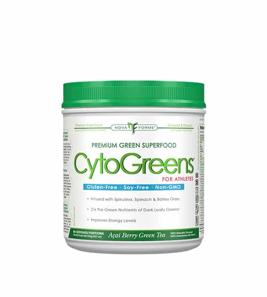White container with green lid of Nova Forme Premium Green Superfood CytoGreens for Athletes which is gluten-free, soy-free and non-GMO