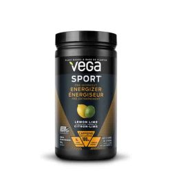 Black container with black lid of Vega Sport Pre-Workout Energizer with Lemon Lime flavour