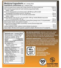 Nutrition and ingredients panel of Vega Sport pre-workout energizer for serving size 1 scoop (18 g) with approx. 30 servings per container