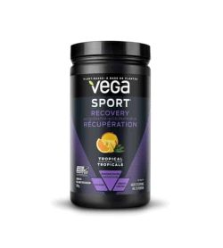 Black and purple container with black lid of Vega Sport Recovery with Tropical flavour plant based