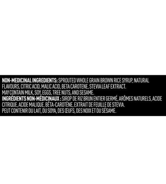 Non-Medicinal Ingredients panel of Vega Sport Recovery Accelerator showing white text in black background