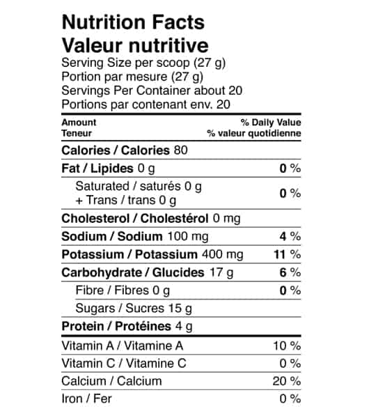 Nutrition facts panel of Vega Sport Recovery Accelerator for serving size 1 scoop (27 g) with about 20 servings per container