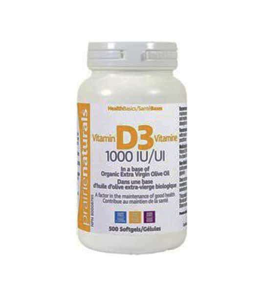 White container with white lid of Prarie Naturals Vitamin D3 1000 IU contains 500 softgels