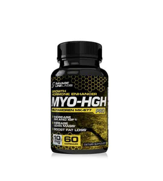 Black bottle of Savage Line Labs sarms MYO-HGH sarms growth hormone enhancer Ibutamoren mk-677 60 capsules 10mg increased GH and IGF1