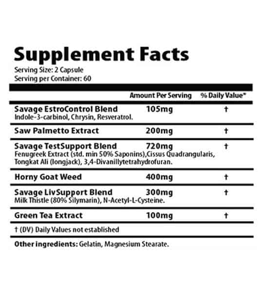 Ingredients for Savage Line Labs pct estrogen blocker and testosterone and liver support blend for sarms