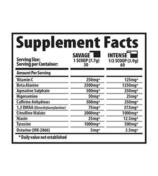 Ingredient panel for Savage Line Labs sarms based pre workout with DMMA 1 3 dimethylamylamine