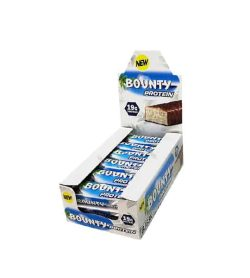 White and blue box of New Bounty Protein Bars shown in white background
