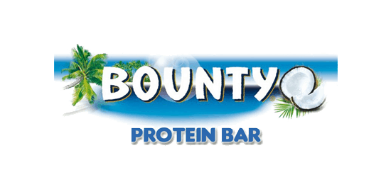 Bounty Protein Bar logo palm trees open coconuts