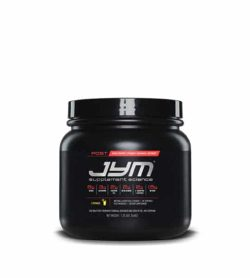 Black container with black lid of Jym Supplement Science Post shown in white background