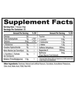 Supplement facts and ingredients panel of Jym supplement science post for a serving size of 1 scoop (19 g) with 30 servings per container