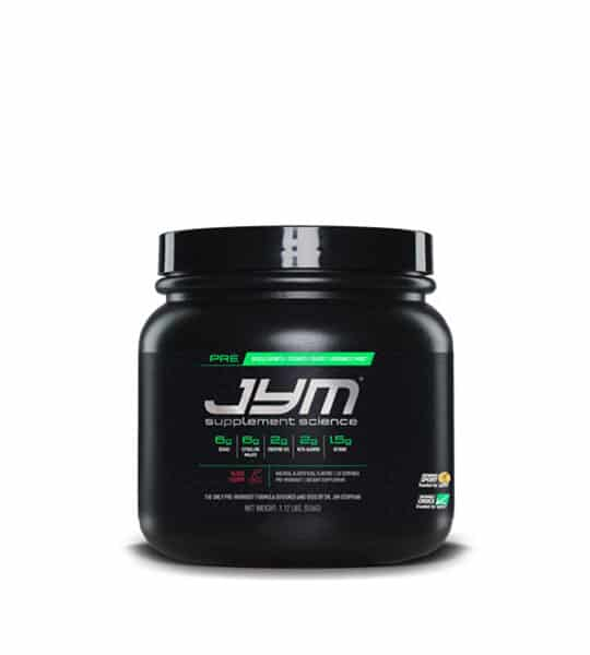 Black container with black lid of Jym Supplement Science Pre shown in white background
