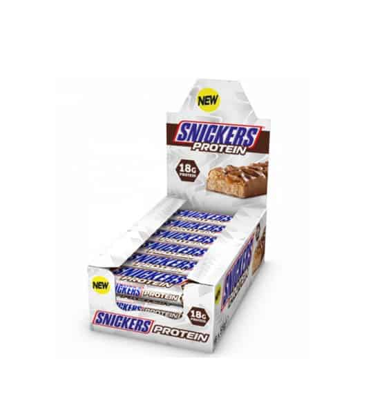 White and blue box of New Snickers Protein Bars shown in white background