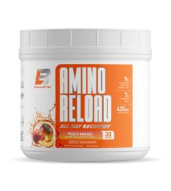 One white and orange container of Balistic Labs Amino Reload PEACH MANGO flavour