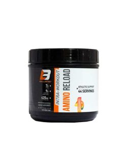 Black container with white and orange label of Ballistic Intra-Workout Amino Reload athletic support contains 44 servings