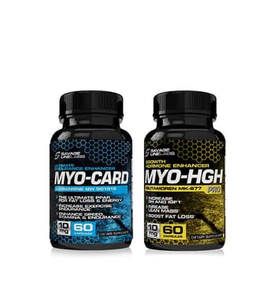 Two bottles of Savage Line Labs sarms myocard and myohgh performance stack of cardarine GW 501516 and Ibutamoren mk 677