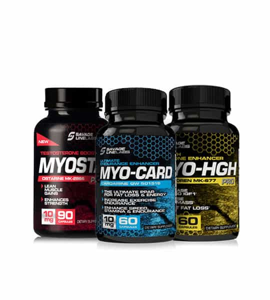 Three bottles of Savage Line Labs sarms lean muscle stack ostarine mk 2866 cardarine gw 501516 and Ibutamoren mk 677 myosta myocard myohgh