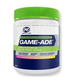 One white green and blue container of PVL Game Ade Tropical Punch Flavour 210g