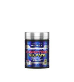 Shiny blue bottle with silver cap of Allmax Agmatine+ Sulfate contains 34g of dietary supplement with Agmasure