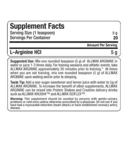 Supplement facts panel of Allmax Nutrition Arginine HCL for serving size of 1 teaspoon (5 g) with 20 servings per container