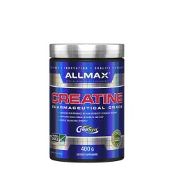 Shiny blue bottle with silver cap of Allmax Creatine Pharmaceutical Grade contains 400g of dietary supplement CreaSyn