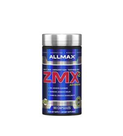 Shiny blue bottle with silver cap of Allmax ZMX2 Advanced contains 90 capsules of dietary supplement