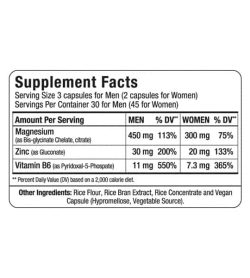 Supplement facts and ingredients panel of Allmax Nutrition zmx2 for serving size of 3 capsules for men and 2 capsules for women