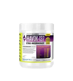 White and purple container with white cap of Athletic Alliance Havok-137 Pre-workout performance promise