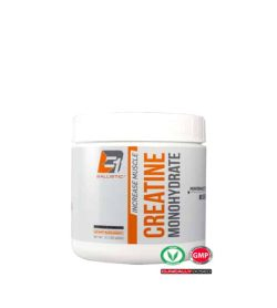 Grey container with white lid of Ballistic Increase Muscle Creatine Monohydrate shown in white background