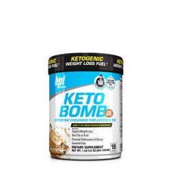 White and blue container with black lid of BPI Health Keto Bomb ketogenic creamer for coffee & tea dietary supplement