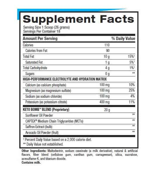 Supplement facts and ingredients panel of BPI Sports Keto Bomb for serving size of 1 scoop (26 grams) with 18 servings per container