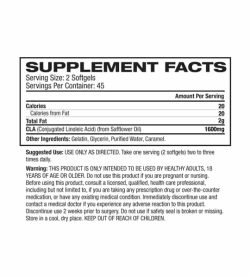 Supplement facts and ingredients of Cellucor Cor Performance CLA for serving size of 2 softgels with 45 servings per container