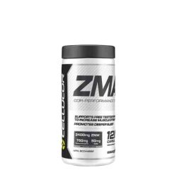 Black and white container with black lid of Cellucor ZMA cor-performance contains 120 capsules