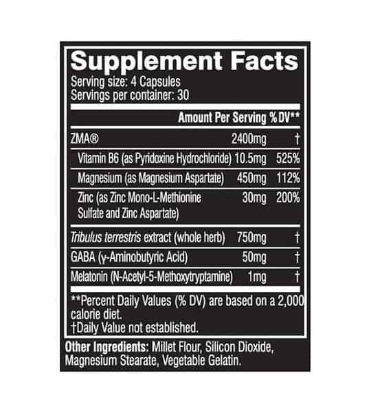 Supplement facts and ingredients panel of Cellucor Cor Performance Zma for serving size of 4 capsules with 30 servings per container