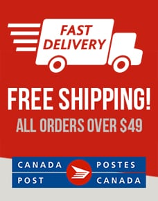 fast delivery free shipping all orders over $49 canada post log