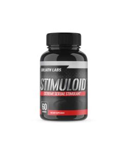 Black bottle with black cap of Goliath Labs Stimuloid Extreme Sexual Stimulant dietary supplement contains 60 capsules