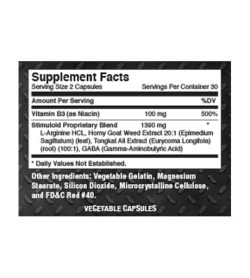 Supplement facts and ingredients panel of Goliath Labs Stimuloid for serving size of 2 capsules