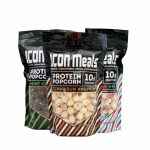 Three packs of Icon Meals protein popcorn power contains 10 g protein per pack