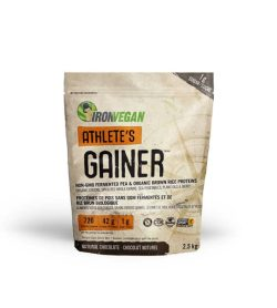 Light brown bag of IronVegan Athlete's Gainer with Natural Chocolate flavour contains 2.5 kg