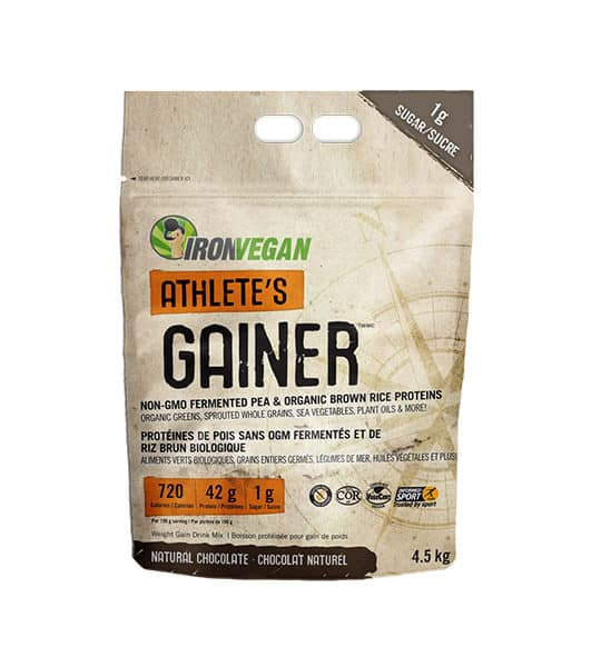 Light brown bag of IronVegan Athlete's Gainer with Natural Chocolate flavour contains 4.5 kg