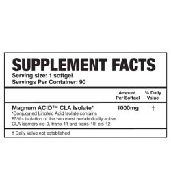 Supplement facts panel of Magnum Acid Isolate for serving size of 1 softgel with 90 servings per container
