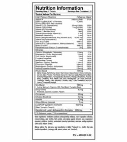 Nutrition information and ingredients panel of Mutant Core Multi for serving size of 2 tablets