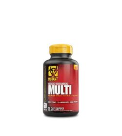 Red and black bottle with yellow cap of Mutant Multi Core Series 30 day supply of dietary supplement