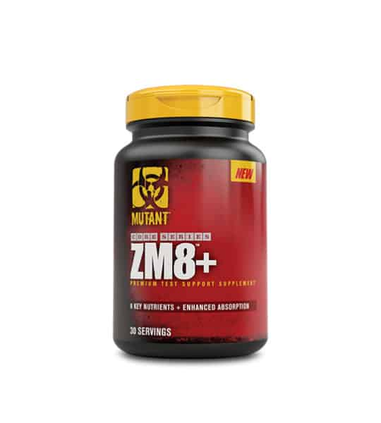 Red and black bottle with yellow cap of Mutant Core Series ZM8+ contains 30 servings