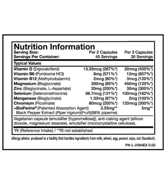 Nutrition information and allergy advice panel of Mutant zm8 zma for serving size of 2 capsules and 3 capsules