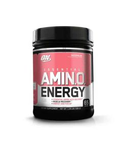 Black container with white and pink label of ON Optimum Nutrition Essential Amin.O. Energy contains 65 servings
