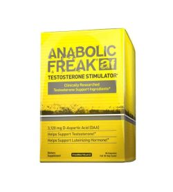 Yellow box of Anabolic Freak Af Testosterone Stimulator dietary supplement shown in white background